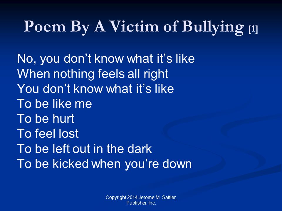 Poem By A Victim of Bullying [1]